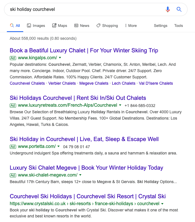google ad vs organic search results